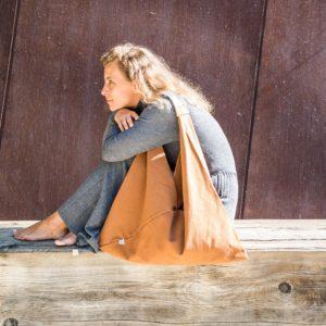Bolsa loneta mujer marrón