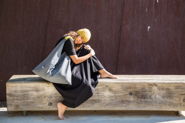 Bolsa loneta mujer gris